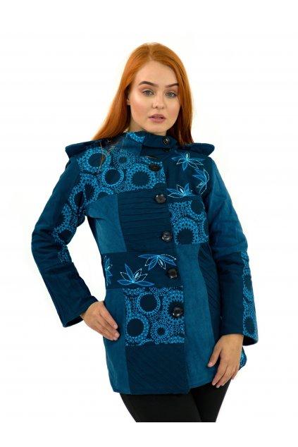 Podzimní/zimní kabát Nepálský lotos - tyrkysový