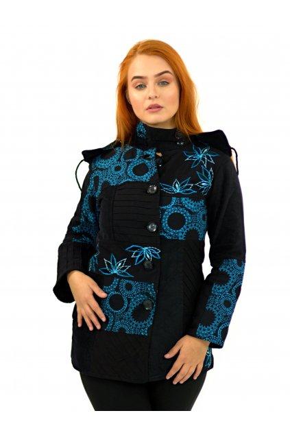 Podzimní/zimní kabát Nepálský lotos - černý s tyrkysovou