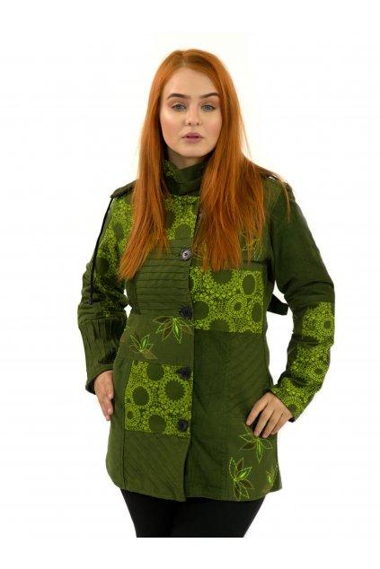 Podzimní/zimní kabát Nepálský lotos - zelený