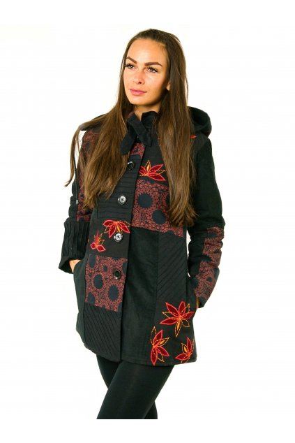 Podzimní/zimní kabát Nepálský lotos - černý s červenou
