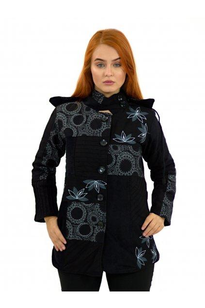 Podzimní/zimní kabát Nepálský lotos - černý s šedou
