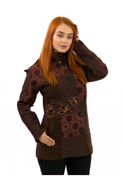 Podzimní/zimní kabát Nepálský lotos - hnědý