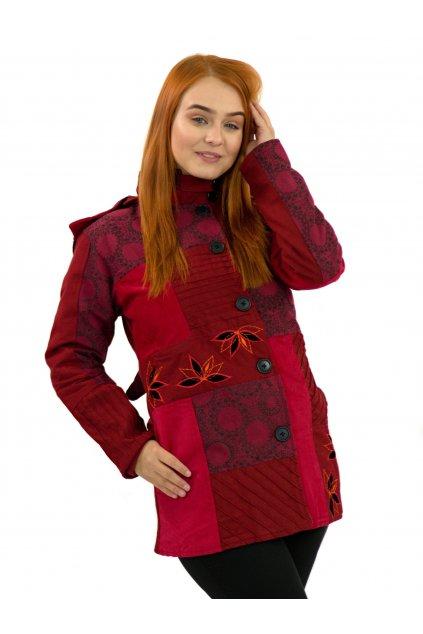 Podzimní/zimní kabát Nepálský lotos - červený