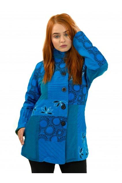 Podzimní/zimní kabát Nepálský lotos - modrý