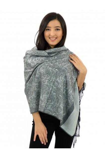 Šátek pašmína Nepal - černá s šedou