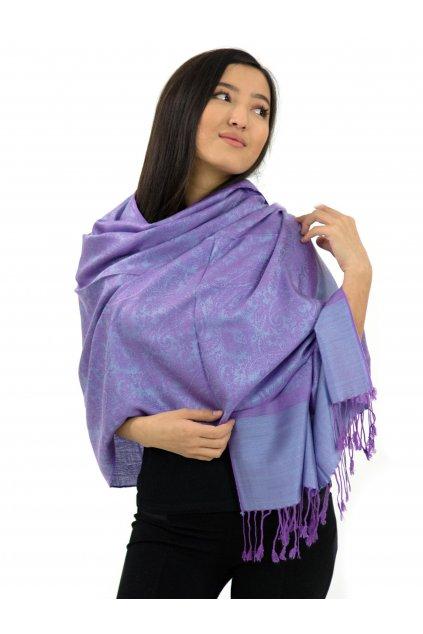 Šátek pašmína Nepal - světle fialová