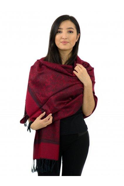 Šátek pašmína Nepal - vínová