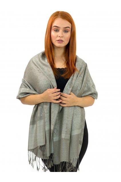 Šátek pašmína Nepal - šedivá