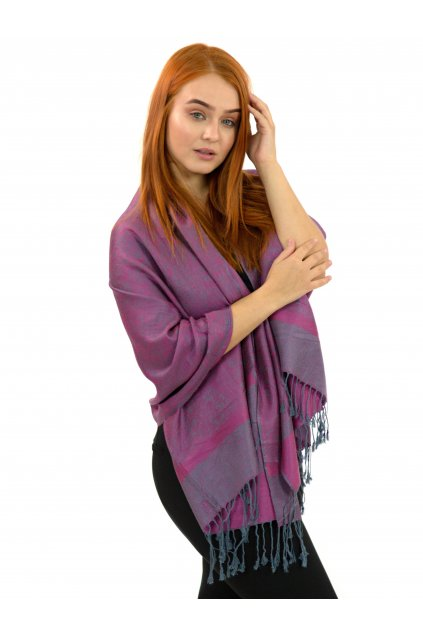 Šátek pašmína Nepal - růžová s šedivou