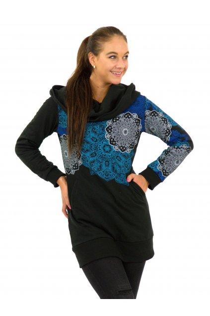 Hřejivá mikina Adra s maxi kapucí - černá s tyrkysovou