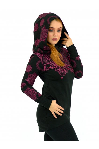 Mikina Moana s maxi kapucí - černá s růžovou