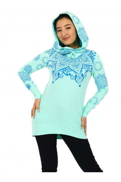 Mikina Moana s maxi kapucí - tyrkysová s modrou