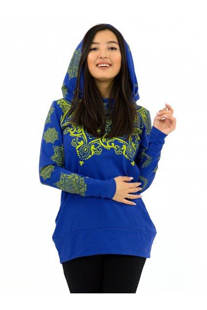 Mikina Moana s maxi kapucí - modrá se žlutou