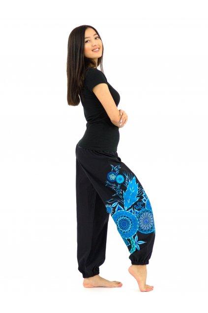 Teplejší kalhoty Mita - černé s tyrkysovou