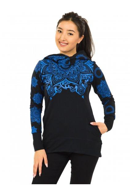 Mikina Moana s maxi kapucí - černá s modrou