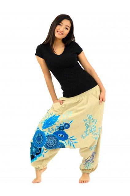 Teplejší harémové kalhoty Asmita  - béžová s tyrkysovou