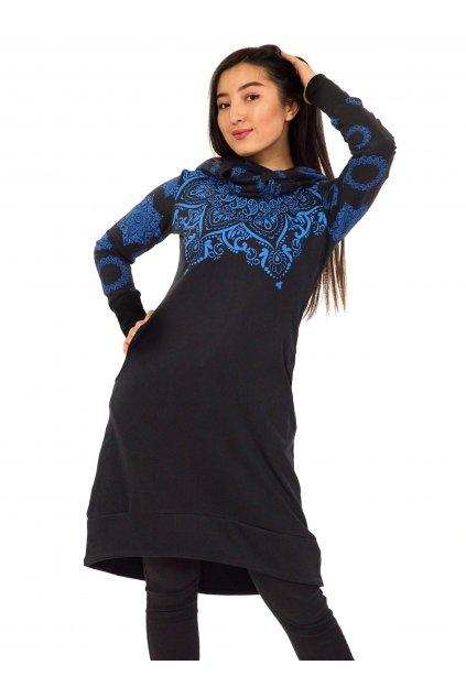 Šatomikina Ohana s maxi kapucí - černá s modrou