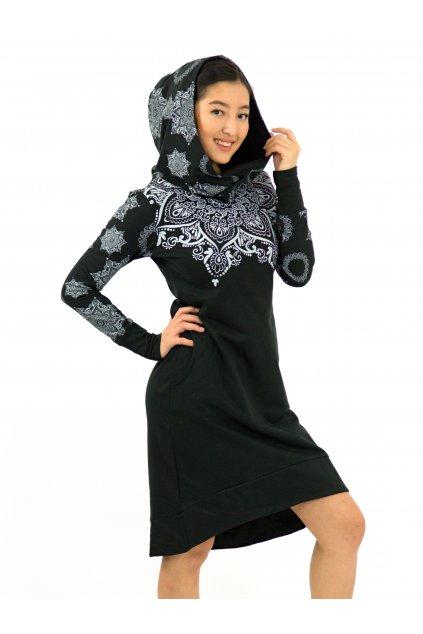 Šatomikina Ohana s maxi kapucí - černá s bílou