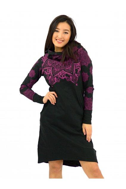 Šatomikina Ohana s maxi kapucí - černá s růžovou