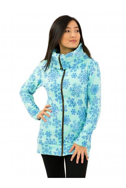 Mikina na zip s maxi límcem KEA - tyrkysová s modrou