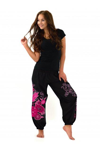 Teplejší kalhoty Mita - černé s růžovou