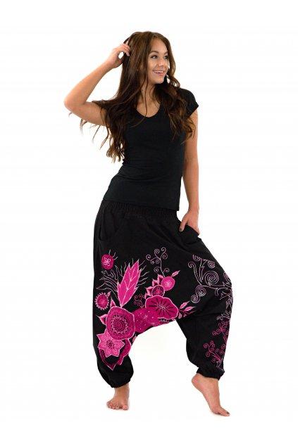 Teplejší harémové kalhoty Asmita  - černé s růžovou
