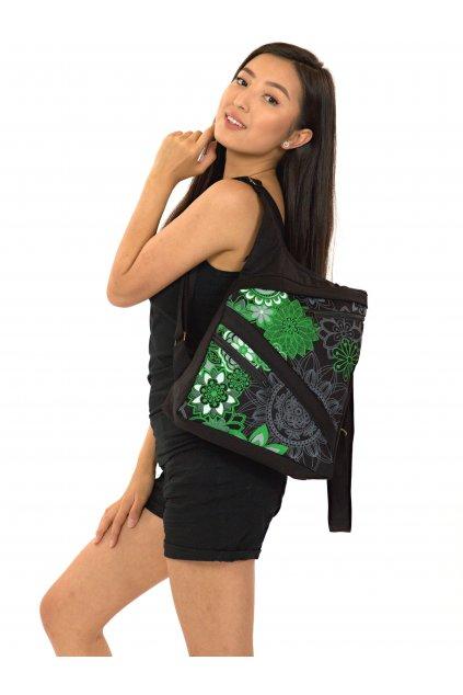 Batoh Heiia - černá se zelenou