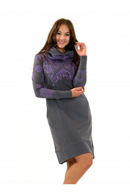 Hřejivá šatomikina Ohana s maxi kapucí - šedá v fialovou
