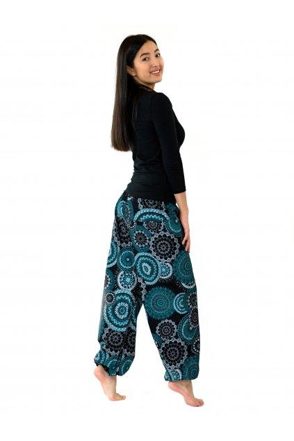 Kalhoty Leera - černá s tyrkysovou