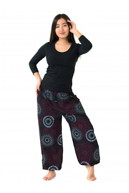 Kalhoty Daya - černá s růžovou