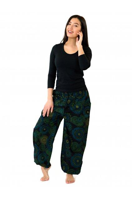 Kalhoty Jasmin - černá s tmavě tyrkysovou