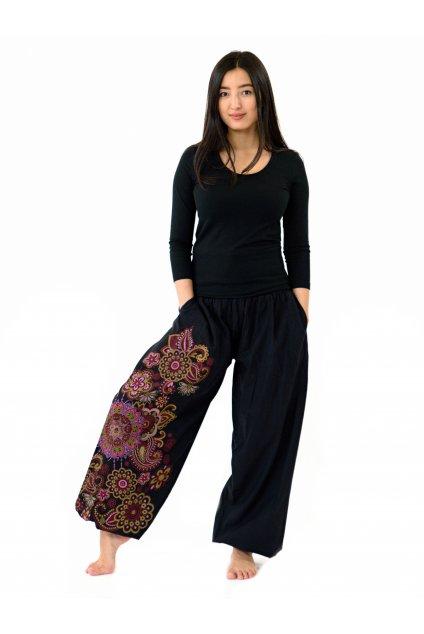 Kalhoty Hanauma - černá s růžovou