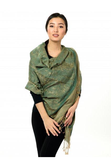 Šátek pašmína Nepal - zelená se zlatou
