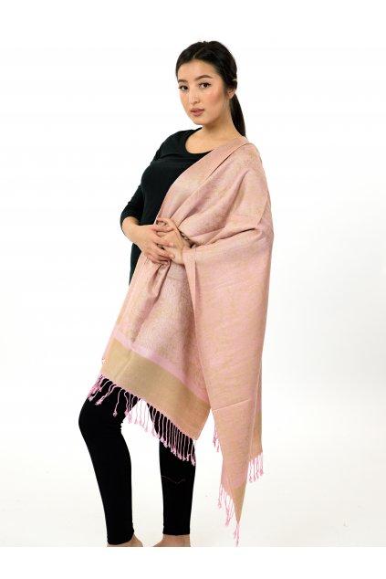 Šátek pašmína Nepal - zlatá s růžovou