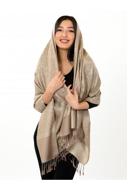 Šátek pašmína Nepal - béžová se zlatou