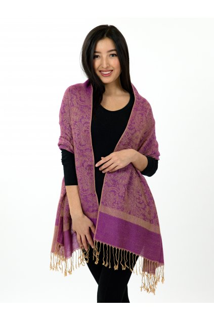 Šátek pašmína Nepal - fialová se zlatou