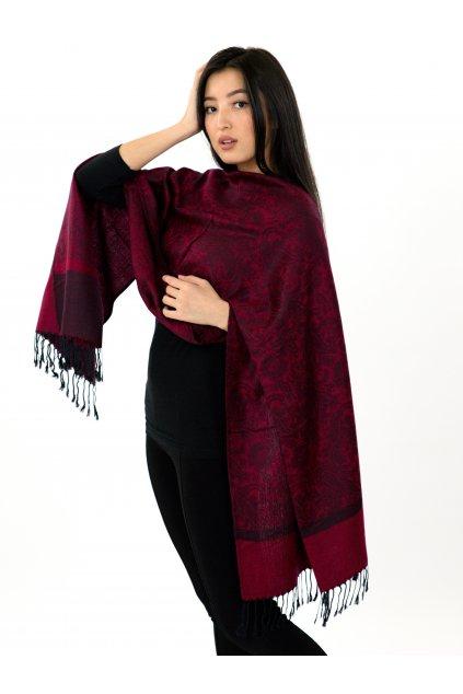 Šátek pašmína Nepal - vínová s černou