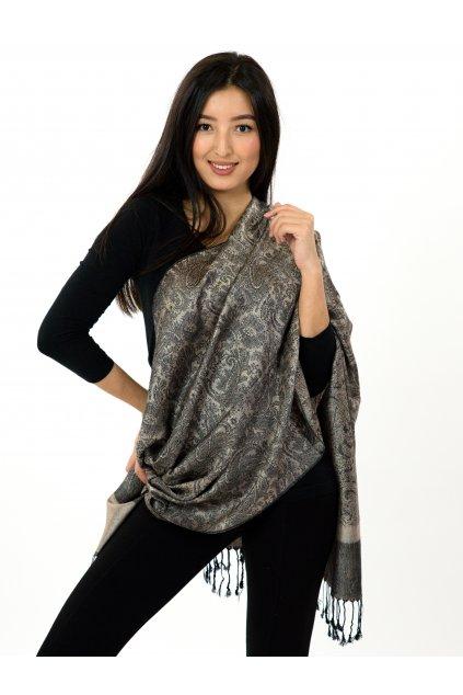 Šátek pašmína Nepal - šedá s béžovou