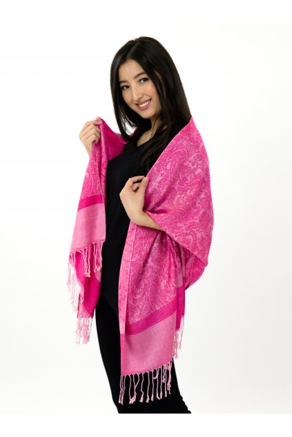 Šátek pašmína Nepal - růžová