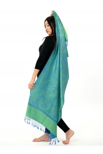Šátek pašmína Nepal - zelená s modrou