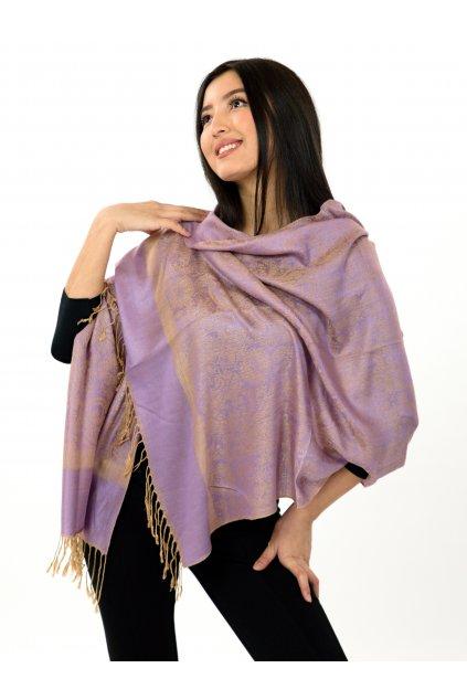 Šátek pašmína Nepal - levandulová se zlatou