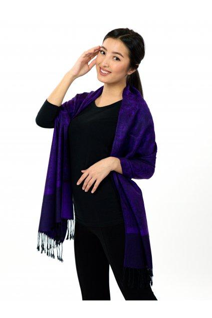 Šátek pašmína Nepal - tmavě fialová s černou