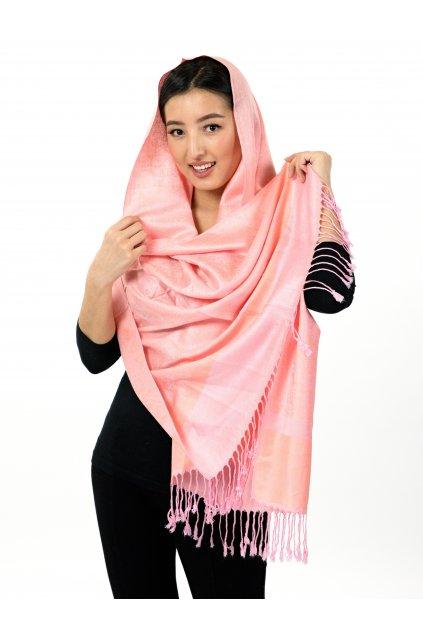 Šátek pašmína Nepal - růžová s oranžovou