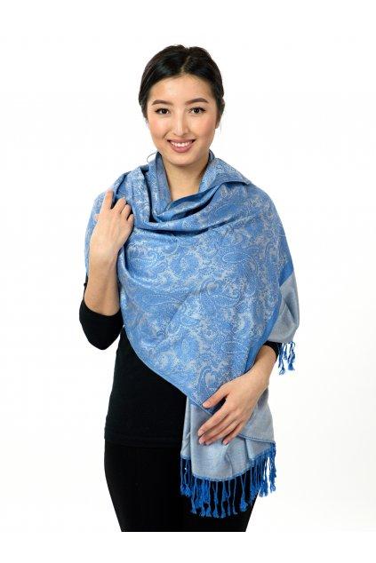 Šátek pašmína Nepal - modrá s šedivou