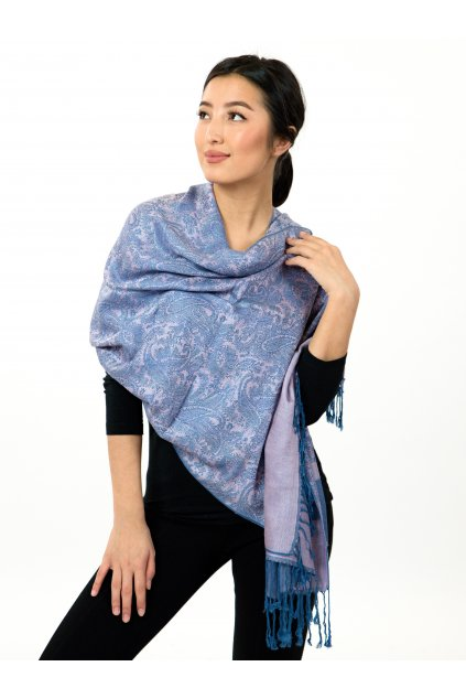 Šátek pašmína Nepal - modrá s růžovou