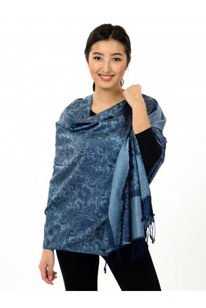 Šátek pašmína Nepal - tmavě modrá se světlou