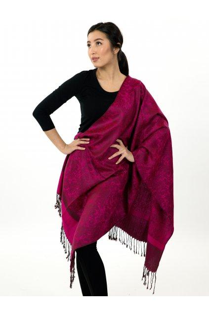 Šátek pašmína Nepal - tmavě růžová s hnědou