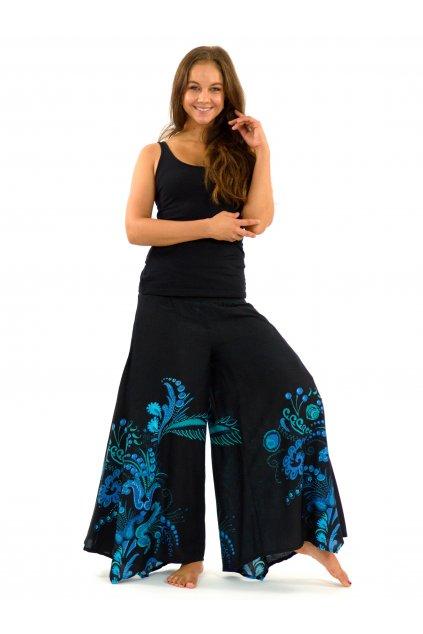 Široké kalhoty Samsa - černé s tyrkysovou