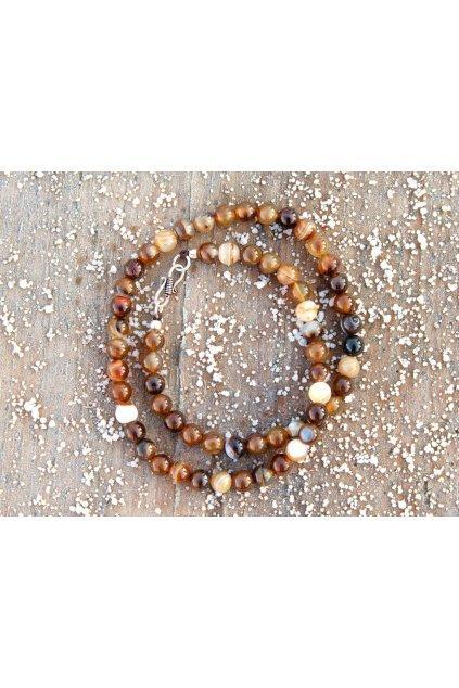 Energetický náhrdelník - achát hnědý