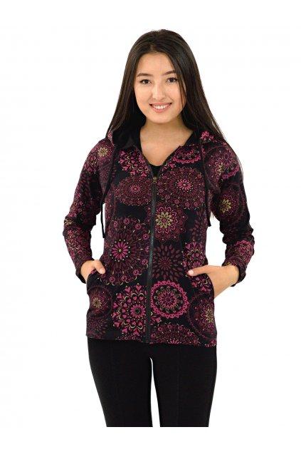 Mikina s kapucí Alima - černá s růžovou